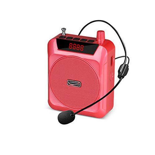 Kostüm Trainer Rot - CHUANG TIANG Sprachverstärker mit Headset-Mikrofon, tragbarem Mini-Lautsprechermegaphon für Reiseführer, Lehrer, Trainer, Präsentationen und Kostüme,Rot