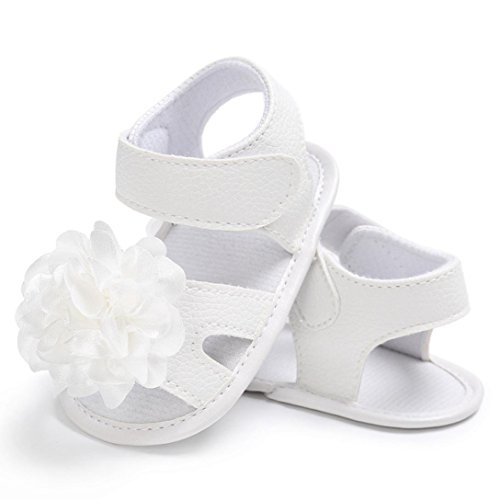 Pour 0-18 mois Bébé,Transer ® Bébé fille chaussures de berceau fleur douce semelle anti-dérapant espadrilles sandales Blanc