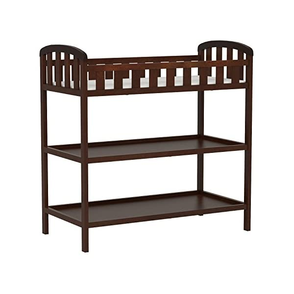 "Dream On Me Emily Changing Table, Espresso Dream On Me 1 inch changing pad 5 1/2"""" safety rail.Dimensions  36.5L x 20W x 39H inches 2 shelves below; Weight:19.5lbs 6"