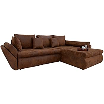 Design ecksofa rodeo coffee used look mit schlaffunktion for Ecksofa amazon