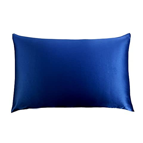 COSFY Pillow case Shams Cover 19momme 100% Mulberry Silk Pillowcase for Hair with Cotton Underside Royal Blue King 50x90cm 1PC