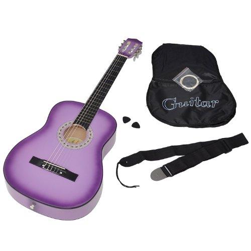 ts-ideen 5267 - Chitarra classica con custodia, corde, plettri e tracolla, colore: Lilla con bordo nero