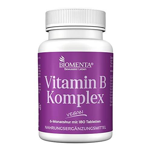 BIOMENTA VITAMIN B KOMPLEX | 6 Monatskur | B-Vitamine hochdosiert 300% NRV | VEGAN | 180 Vitamin-B-Tabletten