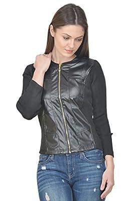 Raabta Fashion Women's Faux Leather Jacket(Faux_101_Black_Small)