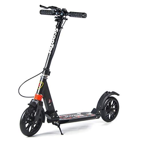 Monopattino Scooter Scooter da Calcio Pieghevole con Freno a Mano e Ruote Grandi, Altezza Regolabile, per Teenager per Adulti, Supporto per 120 kg (Colore : Nero)