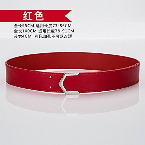 Modegurt der FrühlingsSommerfrauen Frühling und Sommer einfach breit Gürtel Armband breiten Gürtel schwarz / weiß Scrub Mode Gürtel Die rote 95 Cm