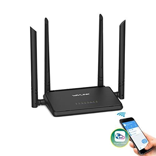 WLAN Router, MECO Wireless Access Point (2.4GHz, 300Mbit/s, App Steuerung, WPS) signalverstärker mit 4x5dBi Antennen für Haus und Büro - Schwarz