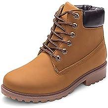 Tefamore Botas de Mujer Cuero Impermeables Botines Mujer Invierno Zapatos Nieve Moda Cordones Zapatos Calientes Planas