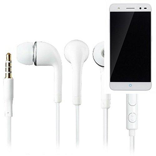 In Ear headphones para ZTE Blade V7 Lite, con micrófono + control de volumen, blanco | 3.5mm auriculares micrófono omnidireccional, Studs auriculares auriculares estéreo sonido grave universal de control de volumen de los auriculares aplicación