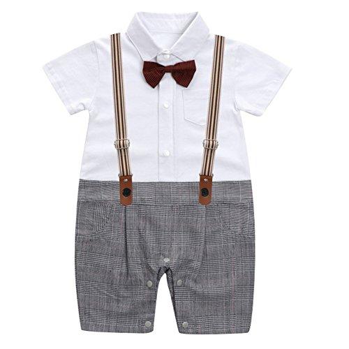 Le ssara 2018 abiti da neonato a maniche corte a cravatta a maniche corte (70, 13320-grigio)
