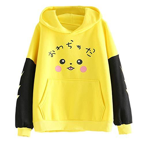 Sudadera-con-Capucha-y-Forro-Polar-de-Pikachu-Sudadera-con-Capucha-y-Bolsillo-de-Color-Block-de-Teen-Girl