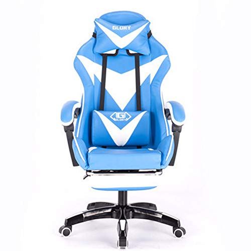 JHSHENGSHI Gaming Chair, Ergonomique Reclining Swivel PU-Leder Mesh Office Racing Gaming-Stil Computertisch Stuhl mit einziehbarer Fußstütze Unterstützung, Blue White -