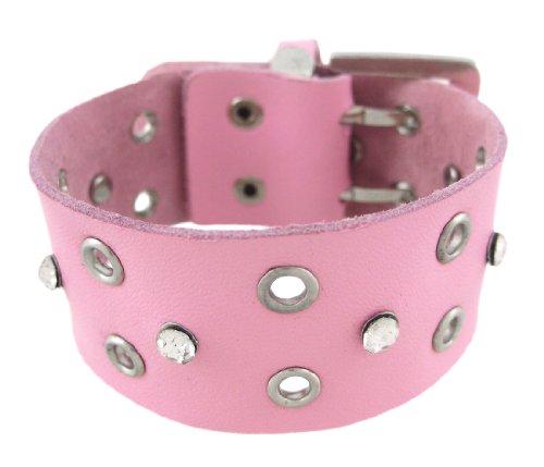 Pink Leder Strass Tülle Armband (Damen Leder-tülle)