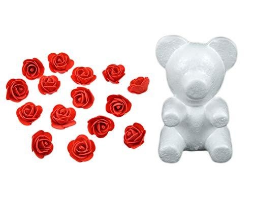 erung Styropor Bär Form Schaum Bälle mit 600 Stück Schaum Blume Rosen Handwerk Für DIY Hochzeits (Rot) ()