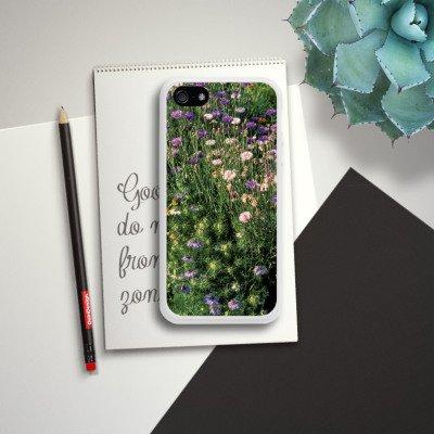 Apple iPhone 5s Housse Étui Protection Coque Prairie de fleurs Fleurs sauvages Champ de fleurs Housse en silicone blanc