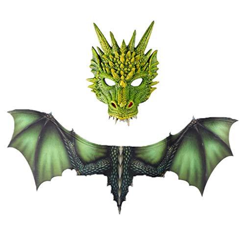 Figuren Robin Hood Kostüm - YWLINK Halloween Dragon Maske Und FlüGel Sets, Horror Dinosaurier Cosplay Prop für Damen & Herren(Grün,30x21cm,95x45cm)