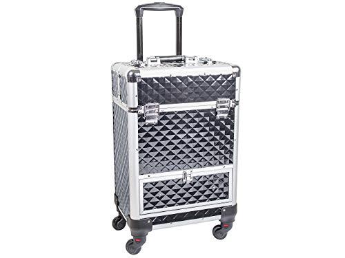 Beauty Trolley DIAMOND Aluminium schwarz - Kosmetik-Koffer - Friseur-Koffer - Schmink-Koffer - Nageldesign-Koffer -