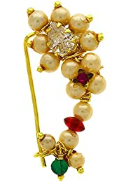 Anuradha Art White Colour Very Classy Designer Traditional Nose Ring/Nath For Women/Girls