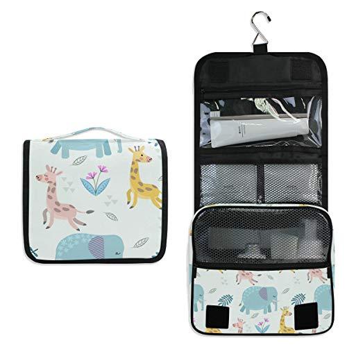 Neceser Colgante de Viaje, diseño de Jirafa, Elefante, Bolsa de Maquillaje, Organizador para Mujeres y niñas, Resistente al Agua