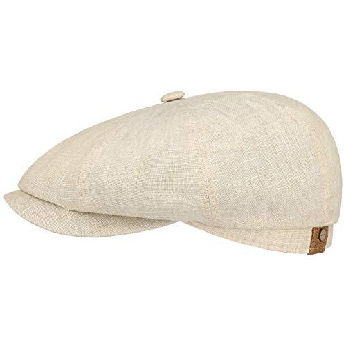 tcap Leinen Damen/Herren | Mütze mit Baumwollfutter | Flat Cap mit Sonnenschutz UV 40+ | Schirmmütze Frühjahr/Sommer | Ballonmütze beige 63 cm ()