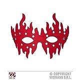 Augenmaske Flamme rot mit silberfarbenen Nieten für Fasching / Halloween / Halloweenmaske
