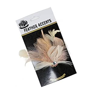 Feather Corsage-Hackle Coque White/Ivory/Champagne