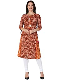Gulmohar Jaipur Women's Cotton Straight Kurti (Red)