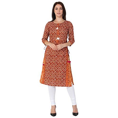 GULMOHAR JAIPUR Women's Cotton Round Neck Straight Kurti (Red, X-Large)