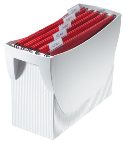 HAN 1900-11, Hängemappenbox SWING, Das mobile Büro. Innovatives Design für 20 Hängemappen, integrierter Köcher, lichtgrau