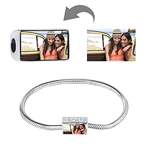 Moonlove 925 Sterling Silver Rectangle Photo Charms Beads Personalized Your Own Picture European Charm Beads Fit Pandora Troll Chamilia Biagi Bracelet Anklet Necklace for Birthday Xmas Baby Keepsake Gift