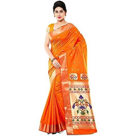 DaFacioun Indian Women Designer Party wear orange Color Saree Sari