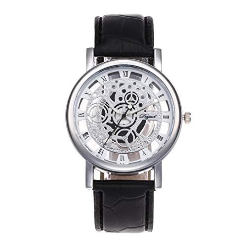 Swiftswan Genaue Zeit halten Luxusuhren Mann Frauen Cooles Design Aushöhlen Transparent Dial PU Leder Armbanduhr Geschenk