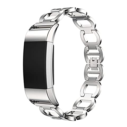 Für Fitbit Charge 2 Watch Transer® Ersatz Uhrenarmbänder Fashion Luxus Edelstahl Uhrenarmband Armband für Uhren Länge: 170-220mm (Silber)