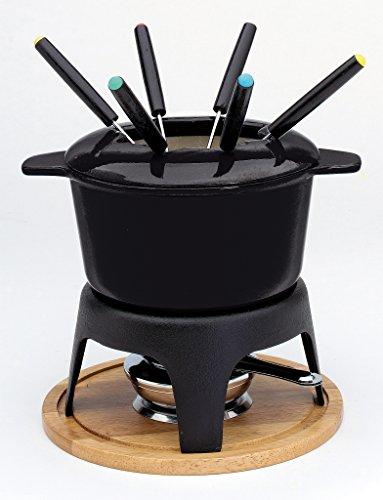 Baumalu 385051 - Juego de fondue (fundición, 6 servicios), sin soporte de madera, color negro