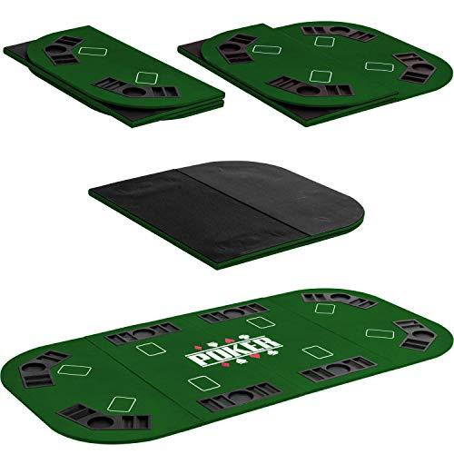 Maxstore Faltbare XXL Pokerauflage für bis zu 8 Spieler, Maße 160x80 cm, MDF Platte, 8 Getränkehalter, 8 Chiptrays, grün - 4