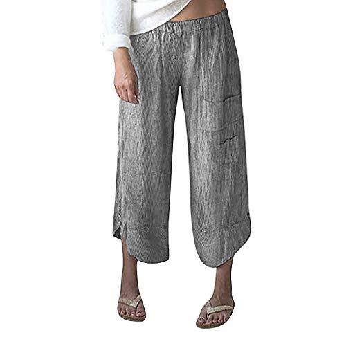 Glück Flare Jeans (Watopi Frauen Weiten Hose Plus Size Streifen Haremshose Tasche weites Bein Hose Baumwolle Leinen Hose Neunte Hose)