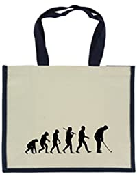 Evolution of Golfing in Black Print on Large Jute Bag with Navy Handles and  Trim 5aa72cb4f31