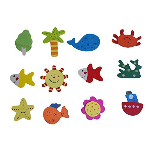 TOOGOO(R)12-fach Holz Kuehlschrank Magnete Aufkleber Baby Magnet Spielzeug Hause Kunst (Kühlschrank Baby-magneten)