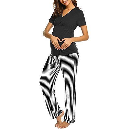 FWJ-clothes Frauen Mutterschaft Stillen Krankenpflege Pyjamas Sets Mutterschaft Schwangerschaft Pyjama Set Streifen Nachtwäsche Kurzarm 2 Stück Top und Hose Set,Schwarz,S (Krankenpflege Mutterschaft Nachtwäsche)