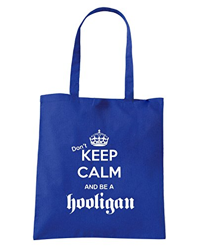 T-Shirtshock - Borsa Shopping TUM0110 DONT KEEP CALM AND BE A HOOLIGAN Blu Royal