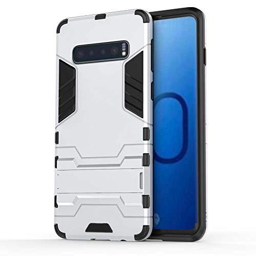 XCYYOO HülleKompatibel mit Samsung Galaxy S10,2 in 1 TPU + PC Hybrid Dual Layer Slim Armor Schutzhülle Tasche mit Standfunktion für Samsung Galaxy S10 Cover -Weiß -
