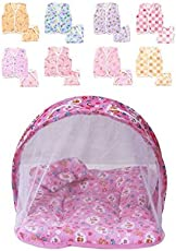 FARETO New Born Baby Combo Pink Mosquito Net Bed And Cotton Jhabla Pack Of 8 Pcs With 8 Nappies (Multicolor) (0-6 Months)