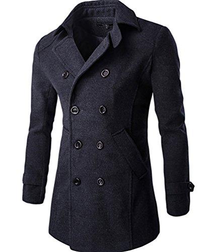 CeRui Uomini Trench Giacche Invernali Outwear Soprabito Giubbotto per Uomo M Grigio scuro