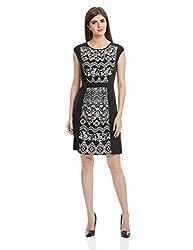 Park Avenue Woman Woman A-Line Dress (PWEB00321-K8_Black_91)