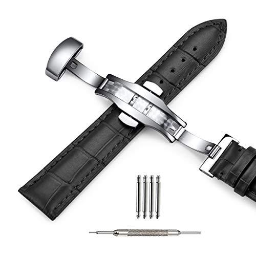 Cinturino orologio pelle 18mm 19mm 20mm 21mm 22mm nero blu modello coccodrillo morbido cinturino di ricambio classico fibbia argento per uomo donna