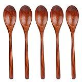 TsunNee - Cucchiai da zuppa in legno con manico lungo, in stile giapponese, 22 cm, confezione da 5