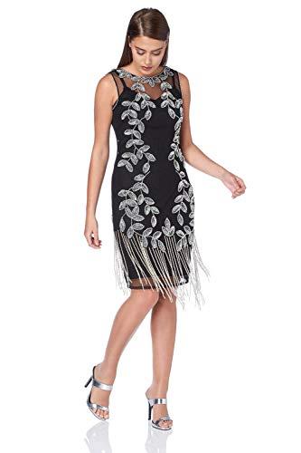 Roman Originals Damen Flapper-Kleid mit Verzierung in Silber - Silber - Größe 40