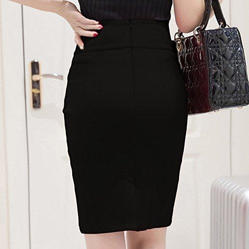 MIOIM® Damen Rock High Waist Lang Skirt Knöpfen A-linien Elastisch Geschnitten Schlauch Röcke Retro Cocktail Party Kleider -
