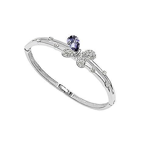 Schmetterlings-Armband mit violetten kristall Swarovski Elements - Blue Pearls - PDC BR2