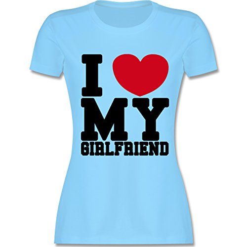 Valentinstag - I love my Girlfriend College Schrift - tailliertes Premium T-Shirt  mit Rundhalsausschnitt